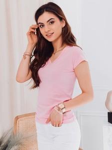 Różowa bluzka Edoti z okrągłym dekoltem w stylu casual