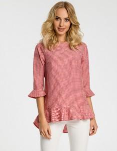 Różowa bluzka MOE w stylu casual z okrągłym dekoltem