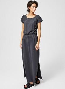 Granatowa sukienka Moodo z bawełny maxi