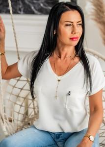 Bluzka Fason z dekoltem w kształcie litery v w stylu casual