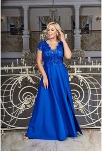 Niebieska sukienka Bosca z dekoltem w kształcie litery v maxi dla puszystych