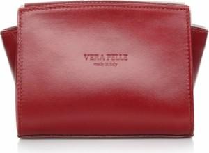 Czerwona torebka Vera Pelle mała ze skóry na ramię
