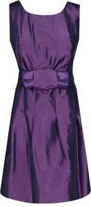 Fioletowa sukienka Fokus mini z krótkim rękawem z okrągłym dekoltem