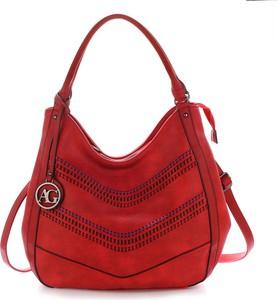 Czerwona torebka Wielka Brytania w stylu glamour na ramię duża