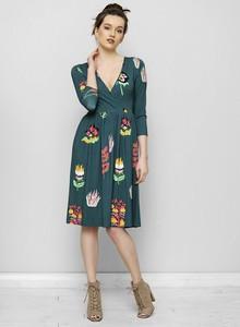 Zielona sukienka Freeshion z dekoltem w kształcie litery v