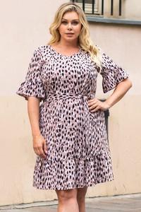 Sukienka KARKO z krótkim rękawem z okrągłym dekoltem