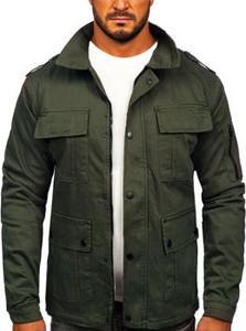 Zielona kurtka Denley z bawełny krótka