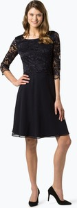 Granatowa sukienka Vera Mont Collection z okrągłym dekoltem z szyfonu midi