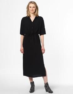 Czarna sukienka EDITED koszulowa z dekoltem w kształcie litery v w stylu casual