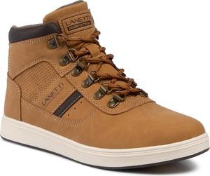 Brązowe buty zimowe Lanetti sznurowane