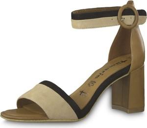 Brązowe sandały Tamaris na obcasie w stylu klasycznym