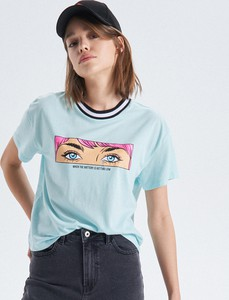 Turkusowy t-shirt Cropp w młodzieżowym stylu z krótkim rękawem