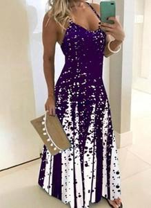 Fioletowa sukienka Cikelly maxi na ramiączkach z dekoltem w kształcie litery v