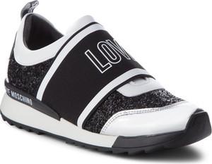Czarne buty sportowe Love Moschino na platformie ze skóry ekologicznej