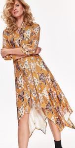 Sukienka Top Secret asymetryczna z dekoltem w kształcie litery v midi
