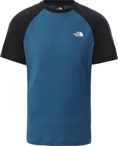 Niebieski t-shirt The North Face z krótkim rękawem w sportowym stylu