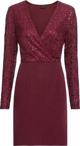 1b237ffd8e Czerwona sukienka bonprix BODYFLIRT w stylu glamour kopertowa