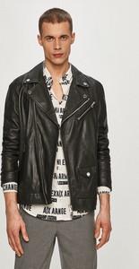 Czarna kurtka Armani Exchange ze skóry krótka
