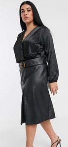 Czarna spódnica Lost Ink Plus ze skóry ekologicznej
