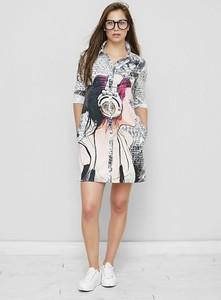 Sukienka Freeshion z okrągłym dekoltem z tkaniny mini