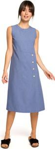 Sukienka BeWear z okrągłym dekoltem midi