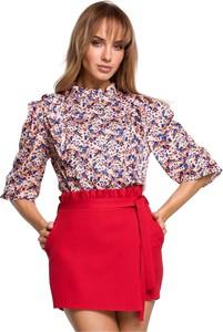 Czerwona bluzka MOE z długim rękawem z okrągłym dekoltem