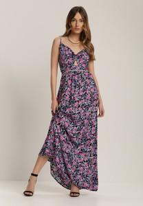 Fioletowa sukienka Renee z dekoltem w kształcie litery v na ramiączkach