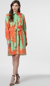 Sukienka 0039 Italy z tkaniny z długim rękawem koszulowa