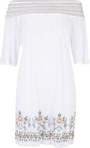 Bordowa koszula bonprix BODYFLIRT w geometryczne wzory w stylu casual z długim rękawem