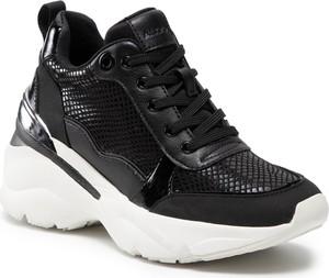 Czarne buty sportowe Aldo na platformie sznurowane