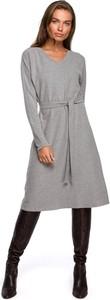 Sukienka Style z długim rękawem z bawełny z dekoltem w kształcie litery v