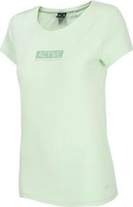 Zielona bluzka 4F z okrągłym dekoltem w sportowym stylu z krótkim rękawem