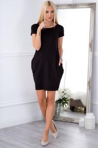 Czarna sukienka Fasardi w stylu klasycznym z okrągłym dekoltem z bawełny