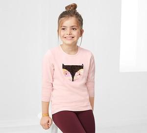 Różowa koszulka dziecięca Tchibo z dżerseju z długim rękawem