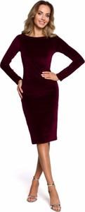 Czerwona sukienka MOE z bawełny z długim rękawem midi