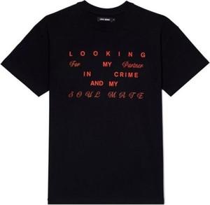 Czarna bluzka LOCAL HEROES z okrągłym dekoltem w młodzieżowym stylu z krótkim rękawem