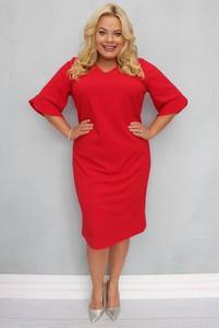 Sukienka KARKO midi z tkaniny z dekoltem w kształcie litery v