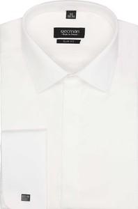 Białe spinki do mankietów recman bez wzorów z długim rękawem