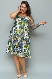 Sukienka KARKO midi z tkaniny z długim rękawem