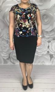 Sukienka Dorota z tkaniny z okrągłym dekoltem midi