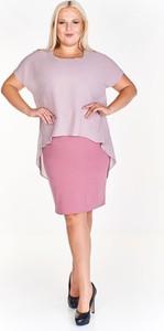 Różowa sukienka Fokus z tkaniny dla puszystych z okrągłym dekoltem