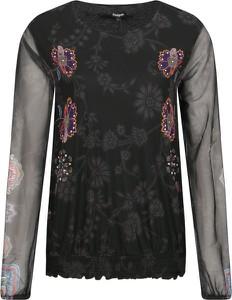 Czarna bluzka Desigual z okrągłym dekoltem