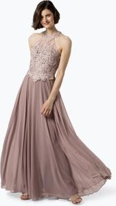 Różowa sukienka Luxuar Fashion bez rękawów z szyfonu maxi
