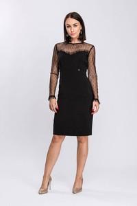 Czarna sukienka Semper ołówkowa z długim rękawem z tkaniny