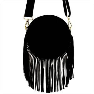 Czarna torebka Vera Pelle w stylu boho ze skóry mała