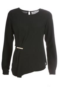 Czarna bluzka Fokus z szyfonu