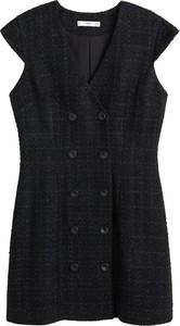Czarna sukienka Mango bez rękawów mini z dekoltem w kształcie litery v