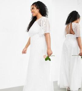 Sukienka Asos z dekoltem w kształcie litery v maxi z krótkim rękawem