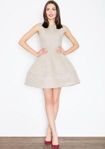 Sukienka sukienki.pl bombka z zamszu z okrągłym dekoltem