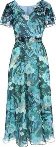 Sukienka POTIS & VERSO maxi z krótkim rękawem z dekoltem w kształcie litery v